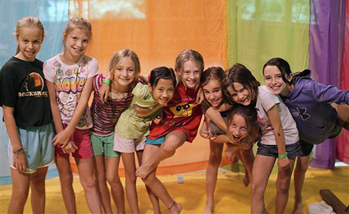 Girls gymnastics camp friends