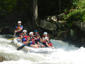 Whitewater rafting boat on the Nantahala River