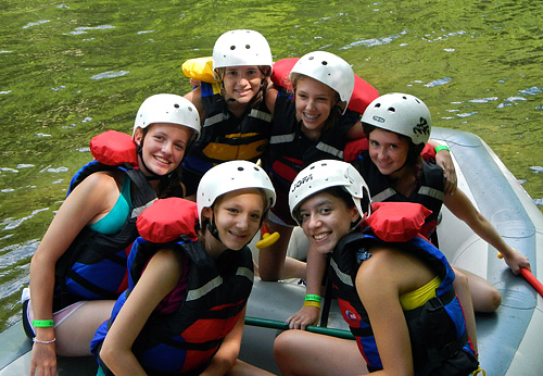 camp girls rafting the nantahala river