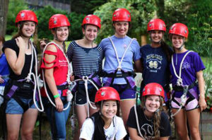 Kids dressed for the Rockbrook Camp Zip Line