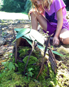 Fairy House made from natural materials at summer camp