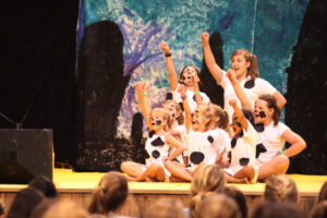 Camp play dalmations cheering
