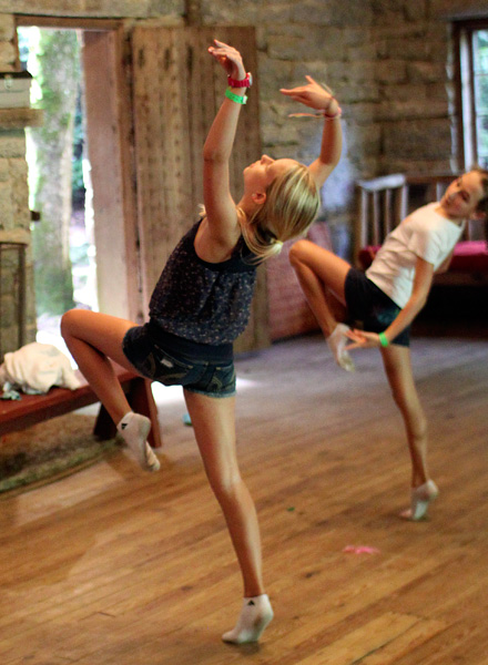 Dancing campers at girls camp