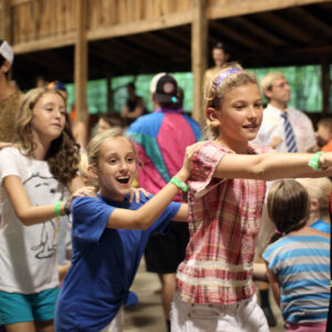 Camp girls dance line