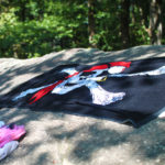 Pirate flag towel at lake