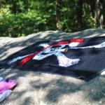 Pirate flag towel at lake