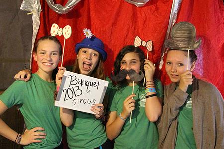 Camp circus girls posing