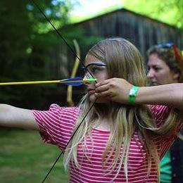 Girls Aims Archery bow and arrow