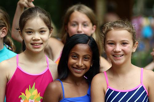 Camp kids smiling before swim test