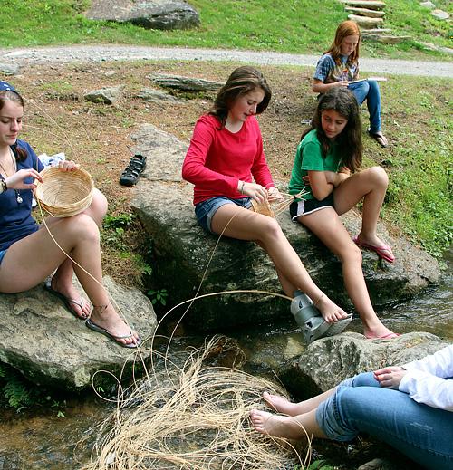 Camp Basket Weaving in a Creek