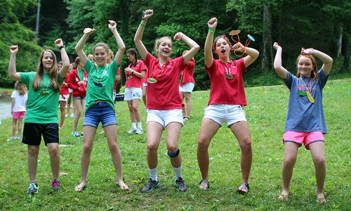Camp girls cheering