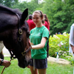 Greeting her first camp horse