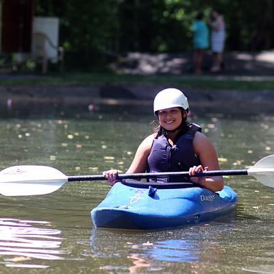 Kayak Girl Smiling