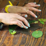 Leaf Pressing at summer camp
