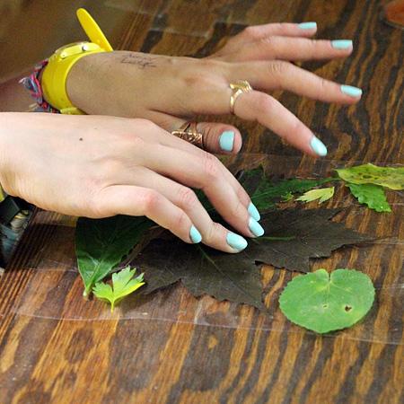 Leaf Pressing at summer camp