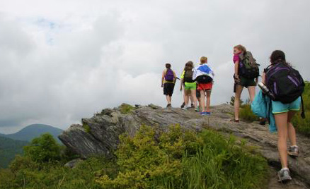 Girls hiking to Tennent Mountain NC