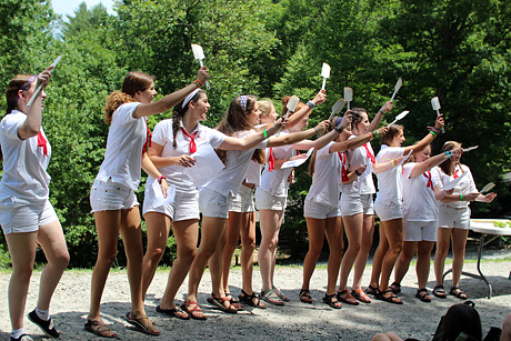 Girls camp outdoor assembly