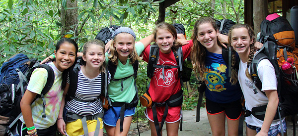 Camp girls ready to go backpacking