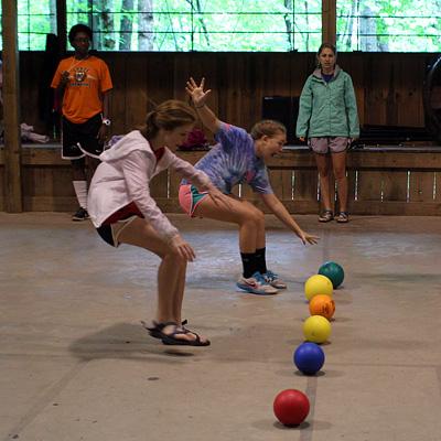 Kid playing dodgeball