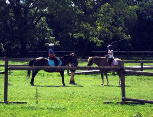 Camp horseback riding lesson for girls