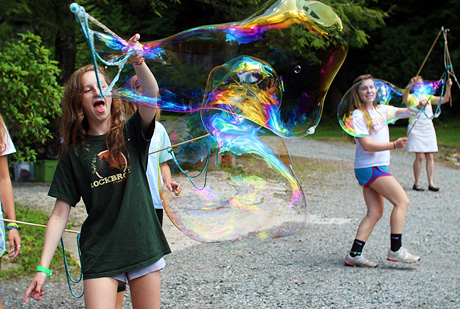 Huge Bubble blowing girls