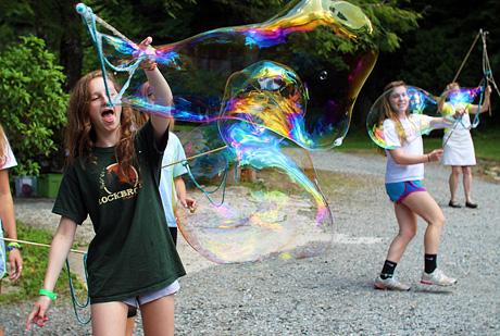 Huge Bubble blowing girls