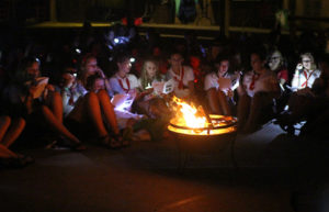 Camp Spirit fire indoors