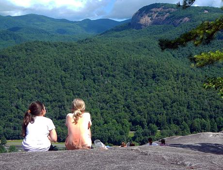 Girls sitting at top of John Rock