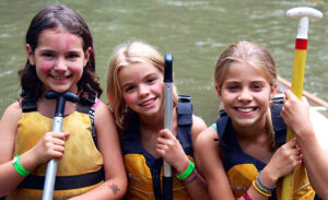Little camp girls ready for canoeing