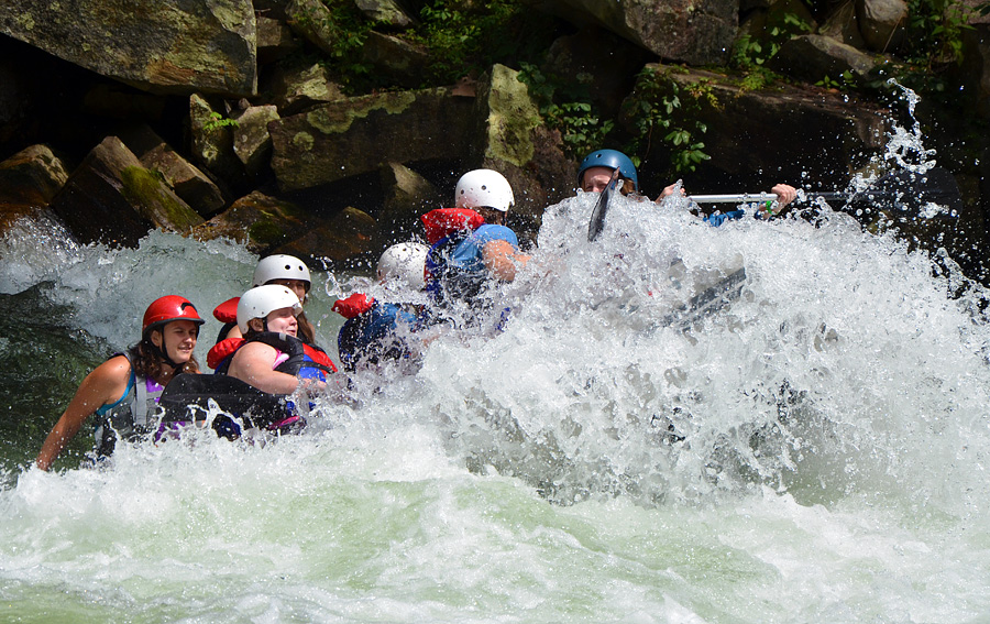 Kids whitewater rafting on the Nantahala river