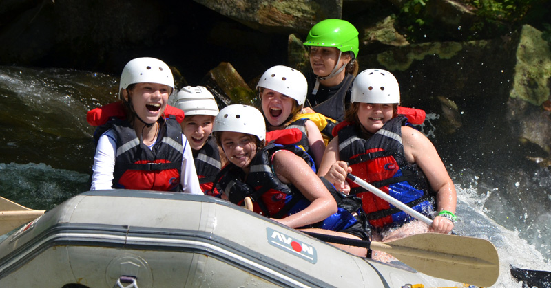 Girls Smile while rafting