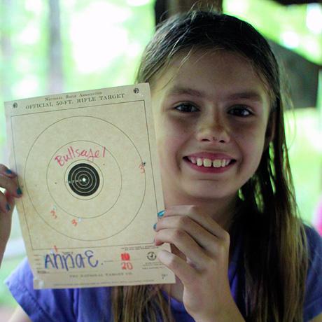 Riflery girl bullseye target