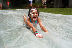 Girl camp slip n slide