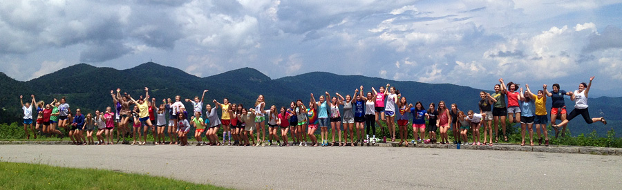 Camp gils jump on Blue Ridge Parkway