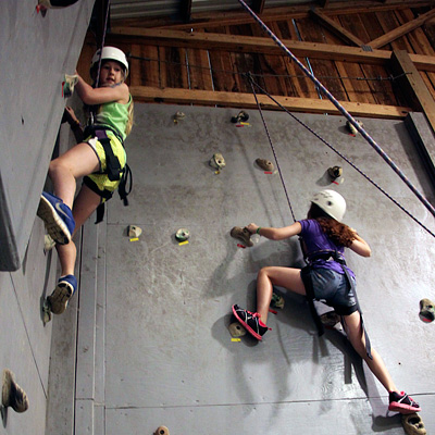 Girls Climbing Wall