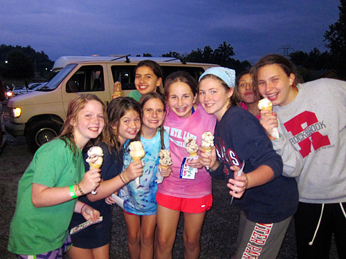 Camp girls happy to eat Dolly's ice cream