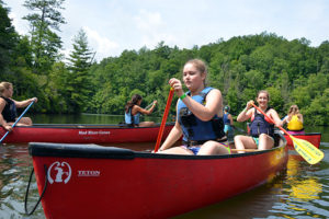 Lake canoe trip for girls