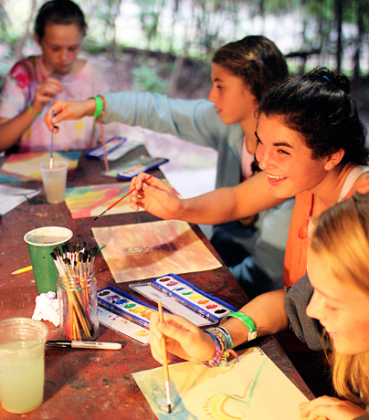Summer camp girls in painting class