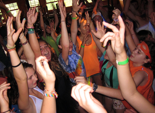Teen girls at summer camp dance