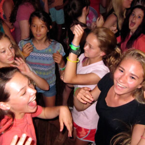 Camp girls at dance party