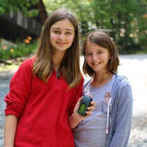 Camp girls geocaching