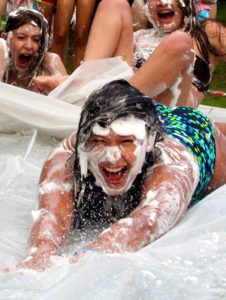 Girls slip and Slide for Fun