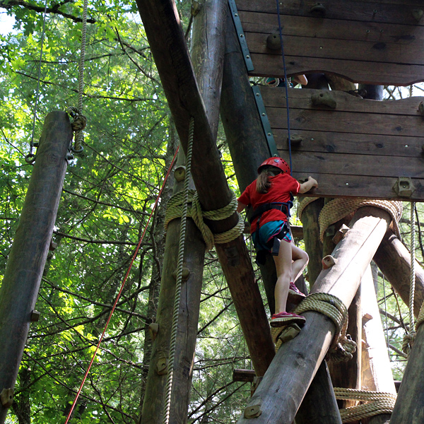 Alpine Tower high ropes course climber