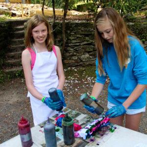 Camp class to make a tie-dye t-shirt