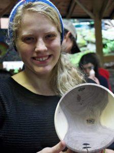 Camp displaying carved bowl