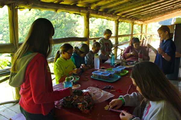 Girls Craft Table at summer camp