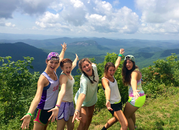 camp girls in NC hiking in high altitude