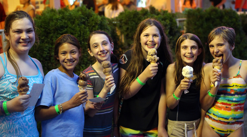 Camp Kids eating Ice Cream at Dolly's Dairy Bar