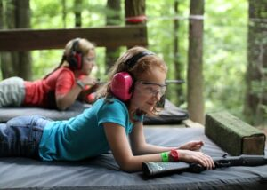 Riflery Ready Girl at Camp