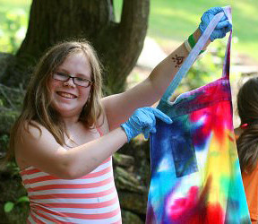 Girls showing her Tie Dye Apron